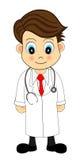 χαριτωμένο κοίταγμα απεικόνισης γιατρών κινούμενων σχεδίων διανυσματική απεικόνιση