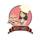 Χαριτωμένο κορίτσι ή νέος αρτοποιός γυναικών που κρατά ένα εύγευστο κέικ σοκολάτας Διανυσματική απεικόνιση χαρακτήρα Στοκ Φωτογραφία