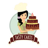 Χαριτωμένο κορίτσι ή νέος αρτοποιός γυναικών που κρατά ένα εύγευστο κέικ σοκολάτας Διανυσματική απεικόνιση χαρακτήρα Στοκ εικόνα με δικαίωμα ελεύθερης χρήσης