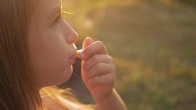 Χαριτωμένο κορίτσι εφήβων που φυσά στο συριγμό υπαίθριο στη φύση Κλείστε επάνω το πορτρέτο ενός κοριτσιού μικρών παιδιών που φυσά απόθεμα βίντεο