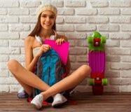 χαριτωμένο κορίτσι εφηβι&kap Στοκ Εικόνα