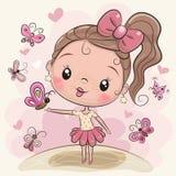 Χαριτωμένο κορίτσι κινούμενων σχεδίων με τις πεταλούδες διανυσματική απεικόνιση