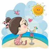 Χαριτωμένο κορίτσι κινούμενων σχεδίων στην παραλία διανυσματική απεικόνιση
