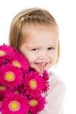 χαριτωμένο κορίτσι λουλουδιών λίγα