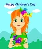 Χαριτωμένο κορίτσι με τα λουλούδια για την ημέρα των παιδιών ή άλλες απεικονίσεις, διάνυσμα απεικόνιση αποθεμάτων