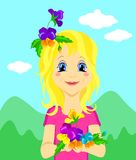 Χαριτωμένο κορίτσι με τα λουλούδια για την ημέρα των παιδιών ή άλλες απεικονίσεις, διάνυσμα διανυσματική απεικόνιση