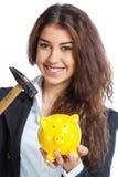 Χαριτωμένο κορίτσι με την κίτρινη piggy τράπεζα Στοκ Φωτογραφίες