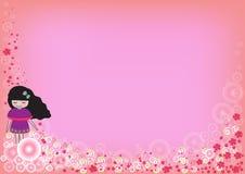 Χαριτωμένο κορίτσι με την ομάδα λουλουδιών σχετικά με ένα ρόδινο υπόβαθρο Στοκ Εικόνα