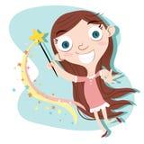 Χαριτωμένο κορίτσι με τη μαγική ράβδο Στοκ Φωτογραφία