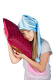 Χαριτωμένο κορίτσι με το μαξιλάρι που απομονώνεται Στοκ εικόνες με δικαίωμα ελεύθερης χρήσης