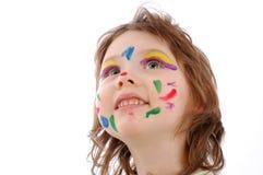 Χαριτωμένο κορίτσι με το χρωματισμένο πρόσωπο Στοκ φωτογραφία με δικαίωμα ελεύθερης χρήσης
