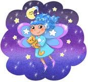 Χαριτωμένο κορίτσι νεράιδων νύχτας διανυσματική απεικόνιση