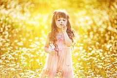 Χαριτωμένο κορίτσι παιδιών στον τομέα Στοκ Φωτογραφίες