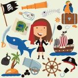 Χαριτωμένο κορίτσι πειρατών ομορφιάς και διάφορα αντικείμενα Στοκ Εικόνες