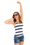 Χαριτωμένο κορίτσι που καλεί το τηλέφωνο. Στοκ φωτογραφία με δικαίωμα ελεύθερης χρήσης