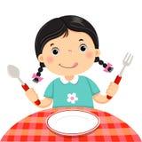 Χαριτωμένο κορίτσι που κρατά ένα κουτάλι και ένα δίκρανο με το κενό άσπρο πιάτο στο whi διανυσματική απεικόνιση
