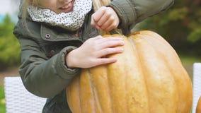 Χαριτωμένο κορίτσι που κόβει την οργανική κολοκύθα από τη συγκομιδή κήπων εγχώριων κουζινών, υγιή τρόφιμα απόθεμα βίντεο
