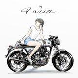 Χαριτωμένο κορίτσι που οδηγά τη μοτοσικλέτα της απεικόνιση αποθεμάτων