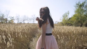 Χαριτωμένο κορίτσι που περπατά στον τομέα σε αργή κίνηση φιλμ μικρού μήκους