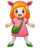 Χαριτωμένο κορίτσι που φορά τα αυτιά λαγουδάκι απεικόνιση αποθεμάτων