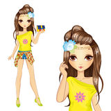 Χαριτωμένο κορίτσι στην κίτρινη μπλούζα διανυσματική απεικόνιση