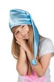 Χαριτωμένο κορίτσι στην πυτζάμα που απομονώνεται στο λευκό Στοκ φωτογραφία με δικαίωμα ελεύθερης χρήσης