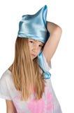 Χαριτωμένο κορίτσι στην πυτζάμα που απομονώνεται στο λευκό Στοκ φωτογραφίες με δικαίωμα ελεύθερης χρήσης