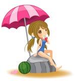 Χαριτωμένο κορίτσι στο μαγιό που στηρίζεται στην παραλία στο μόριο διανυσματική απεικόνιση