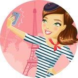 Χαριτωμένο κορίτσι στο Παρίσι ελεύθερη απεικόνιση δικαιώματος