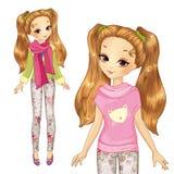 Χαριτωμένο κορίτσι στο ρόδινο πουλόβερ διανυσματική απεικόνιση