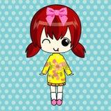 Χαριτωμένο κορίτσι anime στο πουλόβερ Στοκ Εικόνες