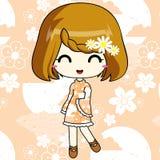 Χαριτωμένο κορίτσι anime στο φόρεμα σχεδίων Στοκ Φωτογραφίες