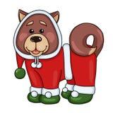 Χαριτωμένο κουτάβι στο κοστούμι Άγιου Βασίλη για την πρόσκληση διακοπών, τη γιορτή Χριστουγέννων ή τη νέα ευχετήρια κάρτα έτους,  στοκ εικόνα