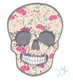 Χαριτωμένο κρανίο με το floral σχέδιο. Κρανίο από τα λουλούδια ελεύθερη απεικόνιση δικαιώματος