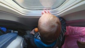 Χαριτωμένο λίγο μωρό κοιτάζει στο παράθυρο αεροπλάνων - που πυροβολείται από τον επάνω απόθεμα βίντεο
