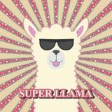 Χαριτωμένο λατρευτό llama μωρών ευχετήριων καρτών στα γυαλιά ηλίου διανυσματική απεικόνιση
