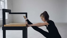 Χαριτωμένο λεπτό κορίτσι που κάνει τα πόδια τεντώματος που κάθονται στο στούντιο στο εσωτερικό Ελκυστική gymnast ευελιξία κατάρτι απόθεμα βίντεο