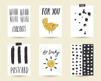 Χαριτωμένο μαύρο και χρυσό κόμμα doodle, κάρτες ντους μωρών Στοκ Εικόνες