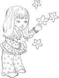 Χαριτωμένο μικρό κορίτσι με τα αστεία αστέρια Ψηφιακό γραμματόσημο διανυσματική απεικόνιση