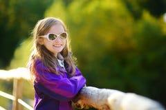 Χαριτωμένο μικρό κορίτσι που έχει τη διασκέδαση κατά τη διάρκεια του δασικού πεζοπορώ την όμορφη ημέρα φθινοπώρου στα ιταλικά Άλπ Στοκ Εικόνα