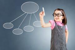Χαριτωμένο μικρό κορίτσι που φορά το επιχειρησιακό φόρεμα και που σύρει ένα διάγραμμα ροής 2 πρόσκληση συγχαρητηρίων καρτών ανασκ Στοκ Εικόνες