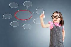 Χαριτωμένο μικρό κορίτσι που φορά το επιχειρησιακό φόρεμα και που γράφει το διάγραμμα της συγκέντρωσης πρόσκληση συγχαρητηρίων κα Στοκ Εικόνες