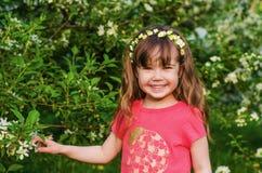 Χαριτωμένο μικρό κορίτσι σε έναν οπωρώνα της Apple Στοκ Φωτογραφίες