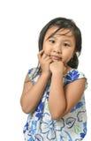 Χαριτωμένο μικρό κορίτσι στο άσπρο υπόβαθρο Στοκ Φωτογραφία