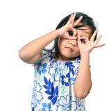 Χαριτωμένο μικρό κορίτσι στο άσπρο υπόβαθρο Στοκ Φωτογραφίες