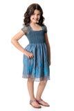 Χαριτωμένο μικρό κορίτσι στο μπλε φόρεμα Στοκ Εικόνες