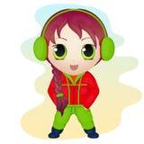 Χαριτωμένο μικρό κορίτσι chibi anime που φορά τα καλύμματα αυτιών Απλό ύφος κινούμενων σχεδίων επίσης corel σύρετε το διάνυσμα απ Στοκ Εικόνες