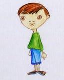 Χαριτωμένο μικρό παιδί με το πράσινο πουκάμισο Στοκ Φωτογραφία