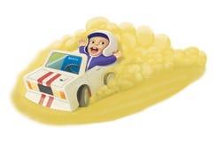 Χαριτωμένο μικρό παιδί που οδηγεί μια συρμένη χέρι απεικόνιση κινούμενων σχεδίων αυτοκινήτων Στοκ εικόνες με δικαίωμα ελεύθερης χρήσης
