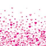 Χαριτωμένο μικρό υπόβαθρο καρδιών, τυχαία διαταγή, διαφορετικά μέγεθος και χρώματα διανυσματική απεικόνιση